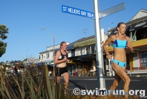 Theresa Knight tracks Jacky Toepfer through St Heliers