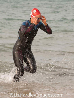 at the end of the swim Rebecca Clarke is out on her own