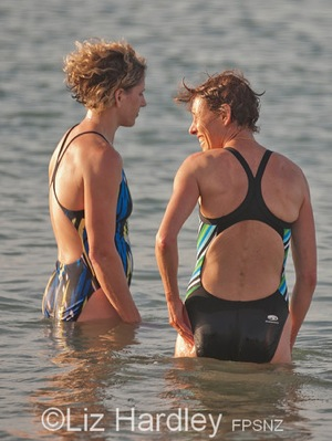 Julia Cree and Margie Peat cool off after winning their age groups