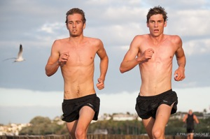 Cameron Todd and Cooper Rand ran shoulder to shoulder for 4 kilometres