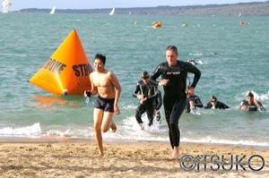 Tom Gordon exiting the swim
