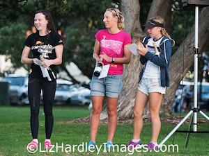 Jacey Cropp, Rebecca Clarke and Katherine Badham top the women's field