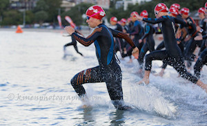 Rose Dillon lead the swimmers from the start