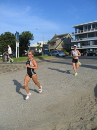 Debbie Tanner leads Anja Dittmer onto the beach